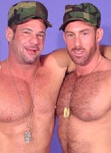 Two military mature muscle bears enjoy each other