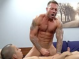Bos deep pounding makes Cody squirt all over his six pack