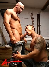 Tasting a man's pure sweat turns these two hunks of man on like nothing else. Lee and Axel get horny in the tool shed, watched on by Jake.