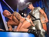 Gay man in latex fucks a muscle stud deep and hard