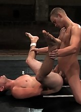Two young athletes rip off each other's jocks and fuck.
