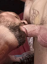 Couple of mature muscle guys enjoy blowjob delight